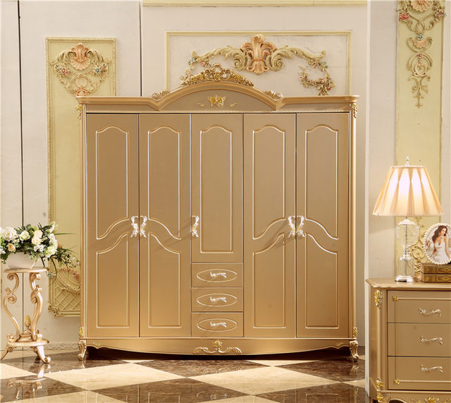 Antique Solid Wood Wardrobe Design Wooden Bedroom Furniture 5 Doors Closet  Cabinets