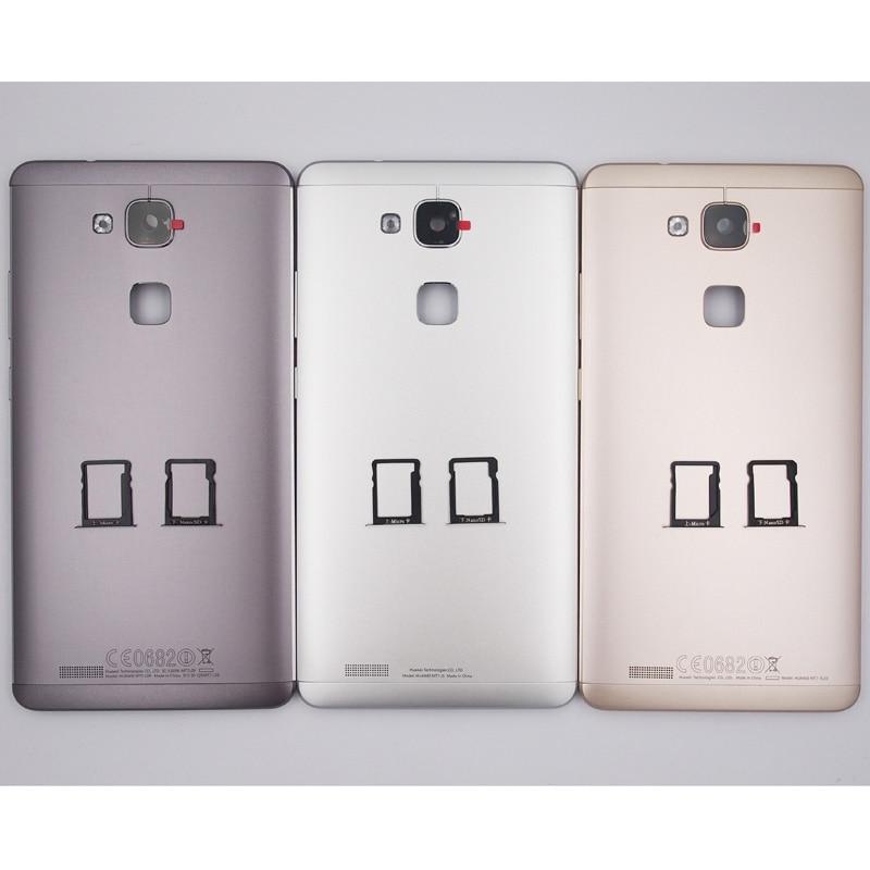 imágenes para 100% Nueva Puerta de La Batería Contraportada Caso de Vivienda de la Bandeja de Tarjeta SIM Para Huawei Mate 7 Con Lente de La Cámara + Power Botones de volumen