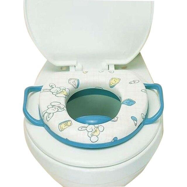 Children Toilet Seat Cushion With Handles Unisex Bright Color Cartoon PVC Plastic Sponge Seat Ring Convenient For Young Kids
