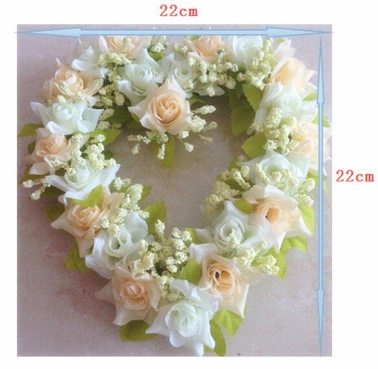 Artificial Silk Rose Flower Door Wreaths Heart Shaped Wedding Door