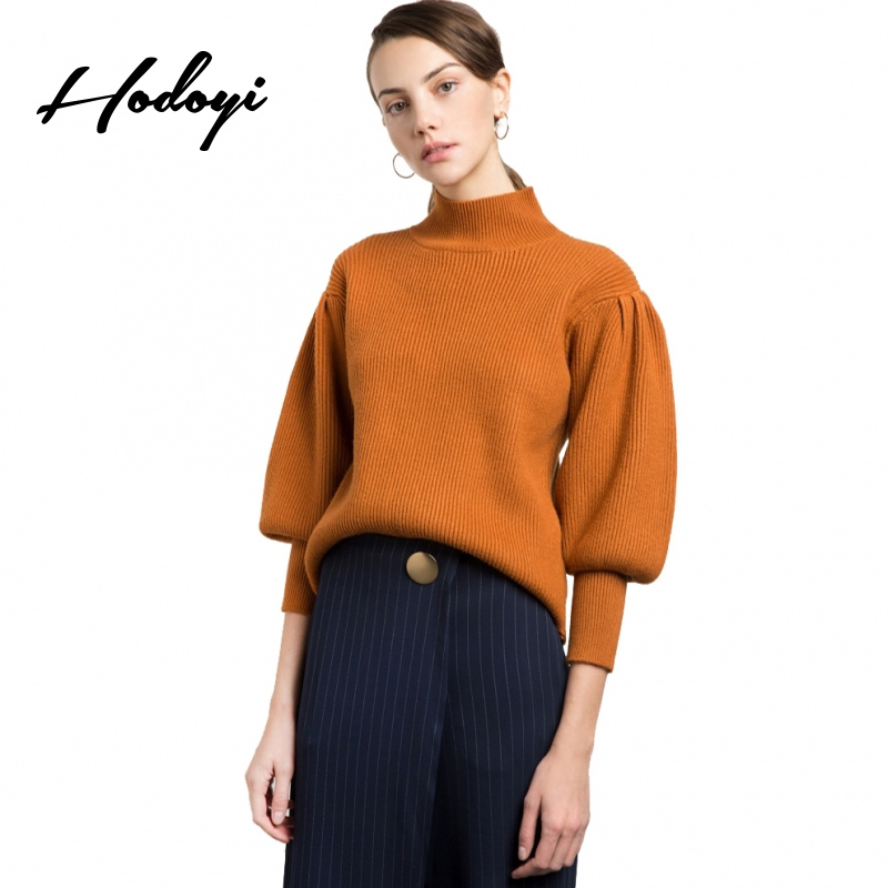 Hodoyi Brown Casual Pullover Sweaters Ladies Loose Lantern Sleeve Autumn Women Jumper Sweater Vintage Winter Female Sweaters