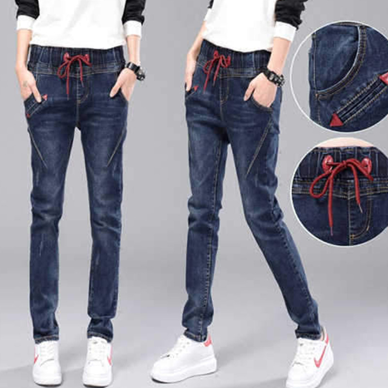 Skinny Jeans Women Elastic Waist Slim Fit Dark Blue Streetwear Pencil Pants Korean Version