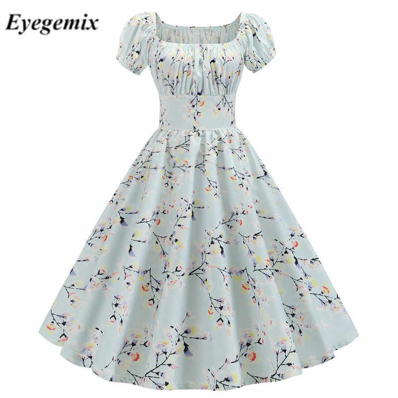 2019 Women Summer Vintage Dress Floral Print Short Sleeve Elegant Party Retro Rockabilly Dress Plus Size Robe Longue White Midi