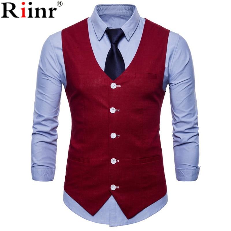 Riinr Stylish Men Fall Slim Fit High-End Business Suit Vest/Male Leisure V-neck Cotton Vest/Groom Dress Black Formal Fashion