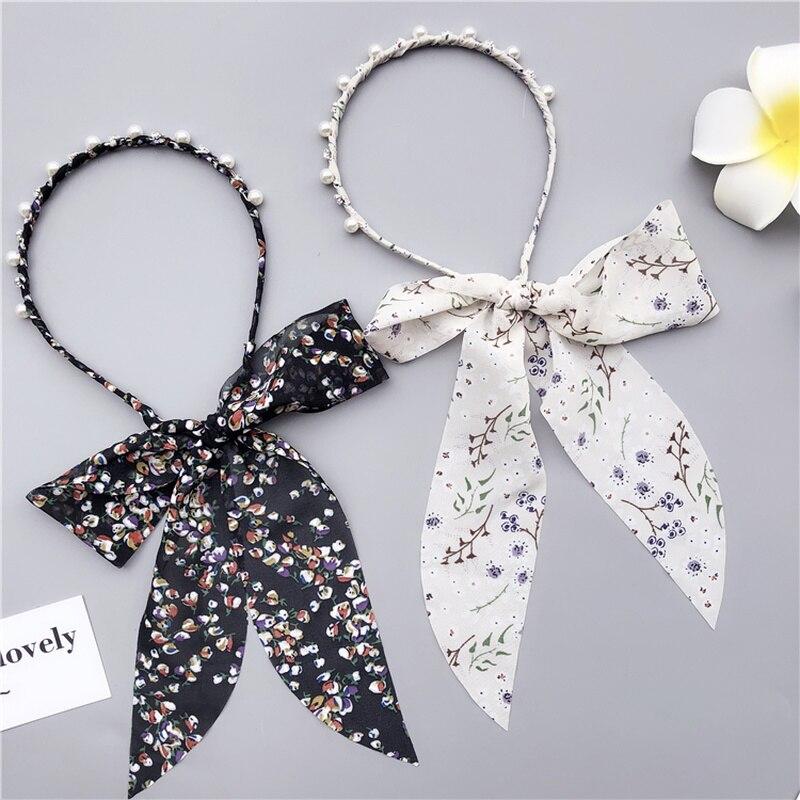 2019 Korean summer bezel   headwear   Women Pearl ribbon Headband Girls Hair Bands Vintage Soft Hairband hoop for hair Accessories