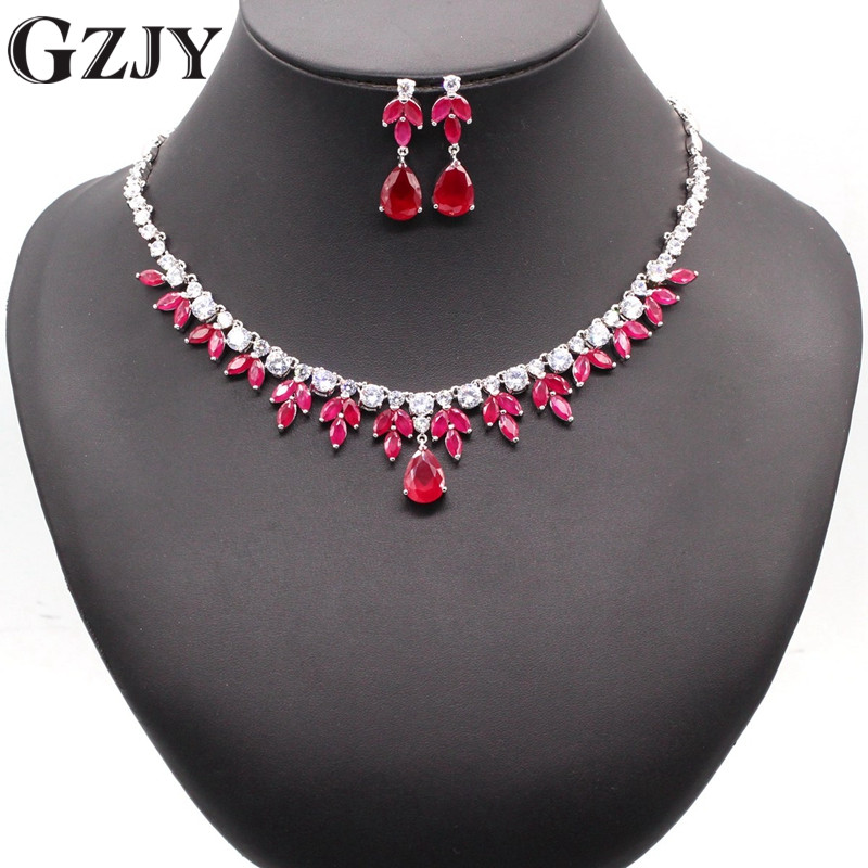 GZJY Luxury Bridal Gold Color Water Drop Red&Green AAA Zircon Necklace Earring Jewelry Set For Women Wedding Party Jewelry be8 luxury red water drop pendant jewelry set for women 5 colors bohemia necklace earring sets bridal dress accessories s 024