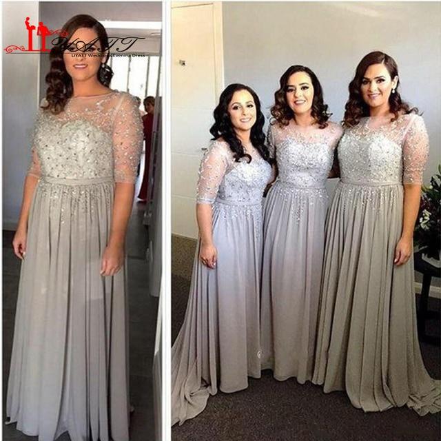 Plus Size Bridesmaid Dresses 2017 New Sheer Jewel Neck Half Sleeves Beaded  Sequins Long Chiffon Summer Wedding Bridesmaids Gowns 513c3177b159