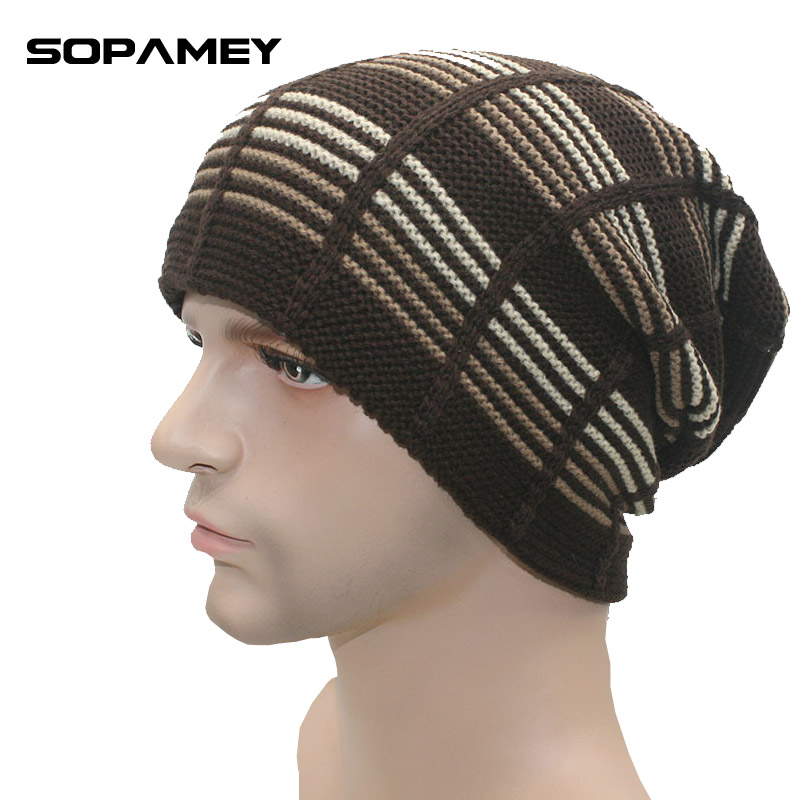 2017 Hot Sale Men Skullies Winter Wool Knitted Hat Male Brand Beanies Cap Casual Stripe Color Sets Headgear Hats For Men Beanies skullies hot sale candy sets color pointed hat knitting hat sets hat cap 1866951