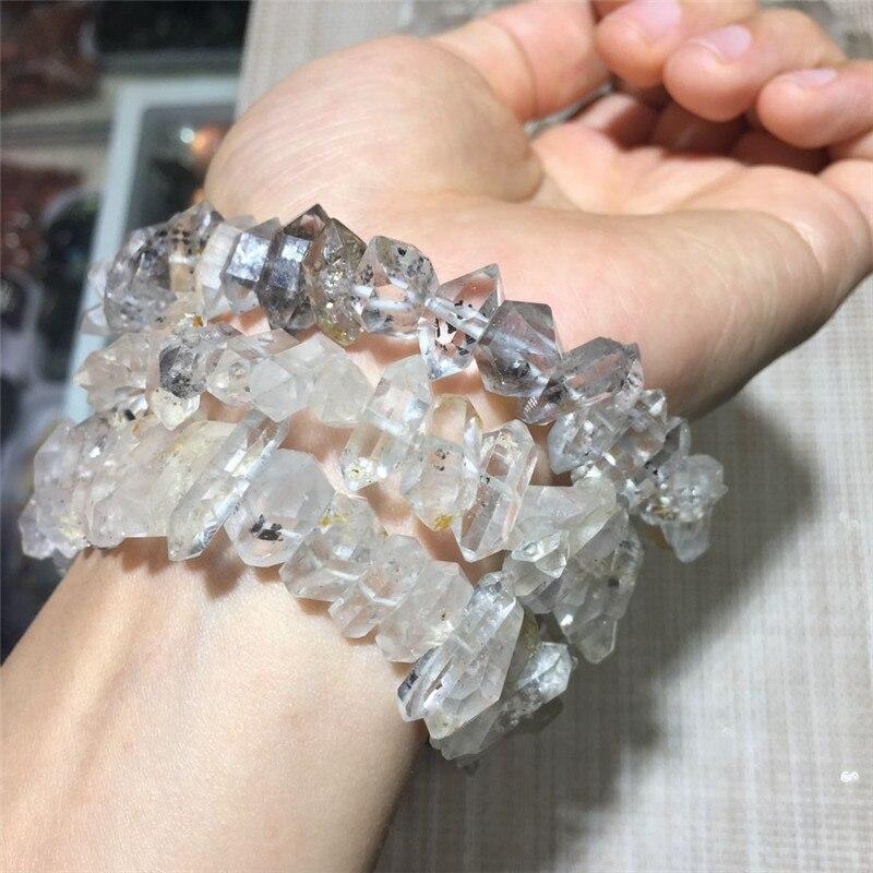 1 шт. редких натуральных камней и минералов Херкимер бриллиантовый браслет rough gem Исцеление Кристаллы прозрачный кварцевый кристалл браслет