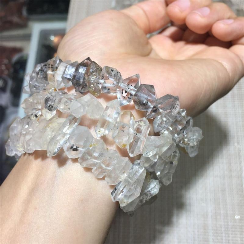 1 pz rare naturale pietre e cristalli minerali herkimer diamante braccialetto gem rough guarigione trasparente cristallo di quarzo bracciale-in Pietre da Casa e giardino su  Gruppo 1