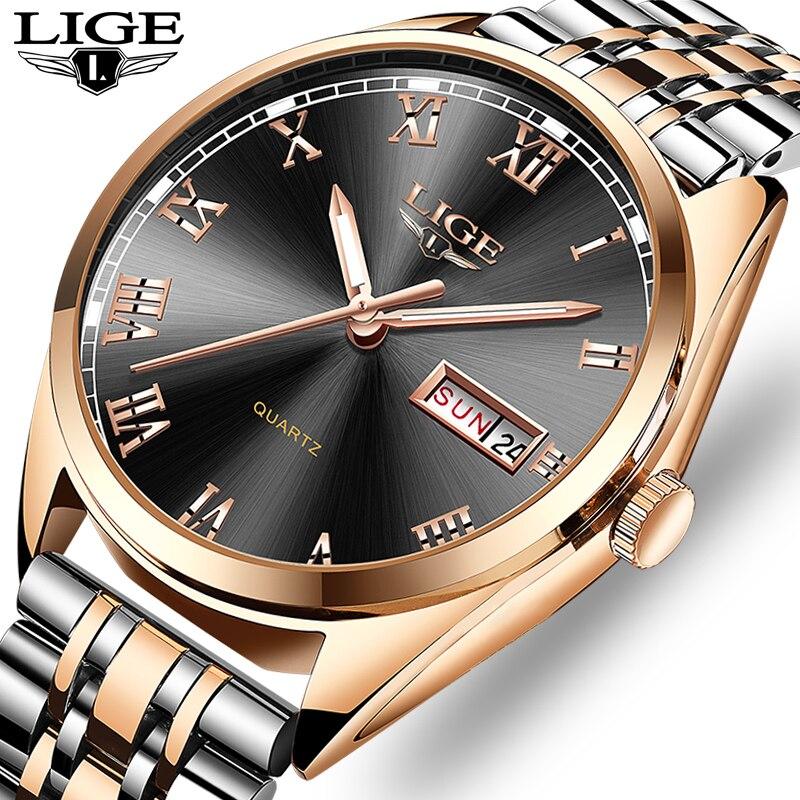 2019New часы lige Для мужчин топ модного бренда хронограф мужской Нержавеющаясталь Водонепроницаемый наручные часы для делового Мужчины Relogio ...