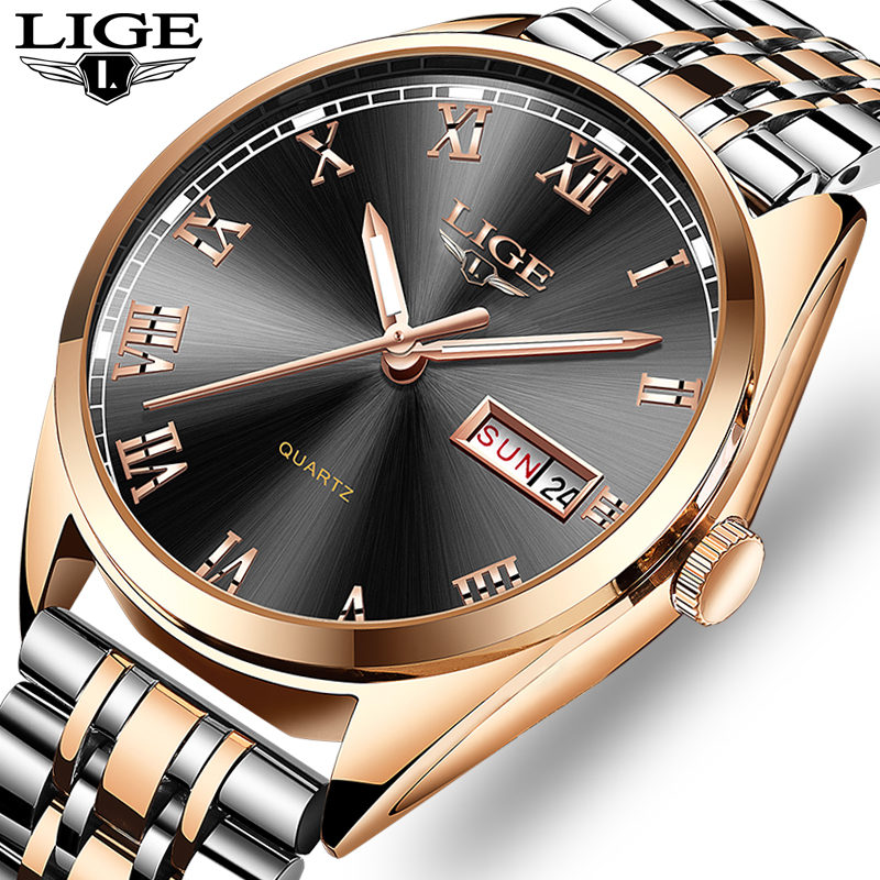 2019New LIGE Watches Men Top Brand Fashion Chronograph Male Stainless Steel Waterproof Business Men WristWatch Relogio Masculino-in Quartz Watches from Watches