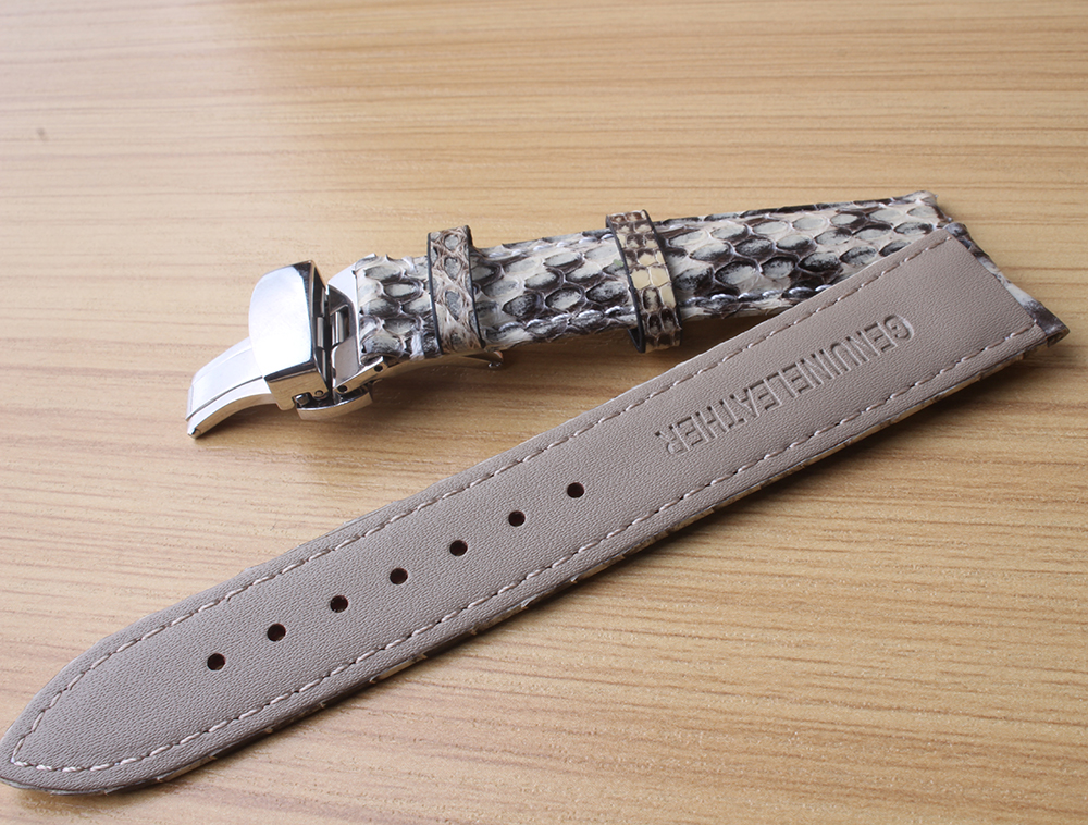 Bracelet spécial en cuir de serpent blanc avec des accessoires de montres de couleur mélangée noire avec boucle en métal argenté 20mm 22mm pour hommes - 3