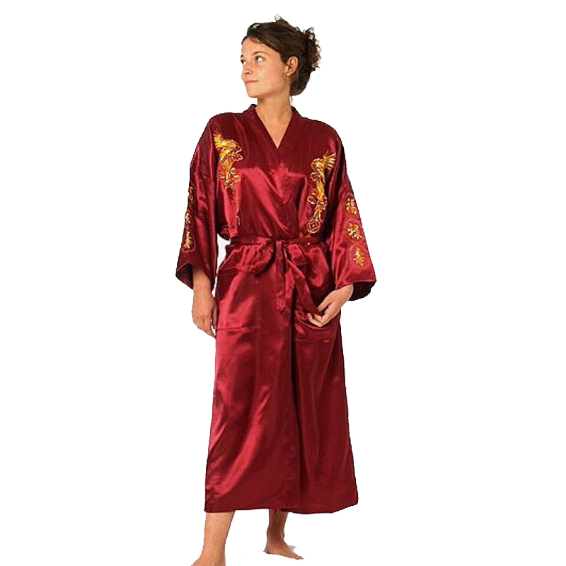 Burgundy Satin Embroidery Dragon Kimono Bathrobe Gown Women's Sexy Satin Robe Long Nightgown Sleepwear Size S M L XL XXL XXXL