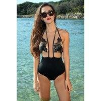 Summer Of 2018 Halter Lace Mesh Swimwear Sexy Women One Piece Bikini Swimwear Monokini Beachwear Swimsuit