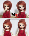 "Hot Sale 3-4"" 9-10cm BJD Farbric Fur Wig Brick Red For 1/12 BJD AE PukiFee lati"