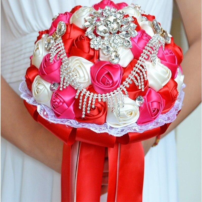 Ruban de Satin personnalisé à la main mariage mariée détient fleur cadeaux de noël en gros livraison gratuite - 3