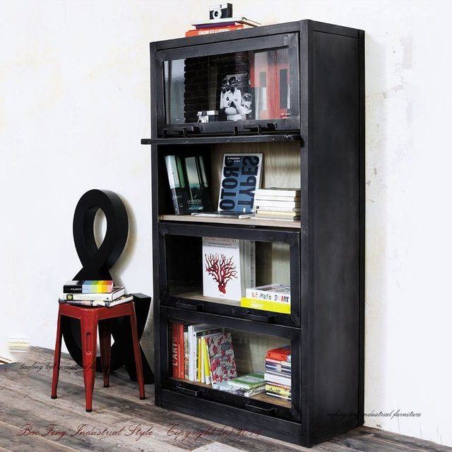Loft Style Display Cabinet Storage Entrance Book Shelf Layer Container Retro To