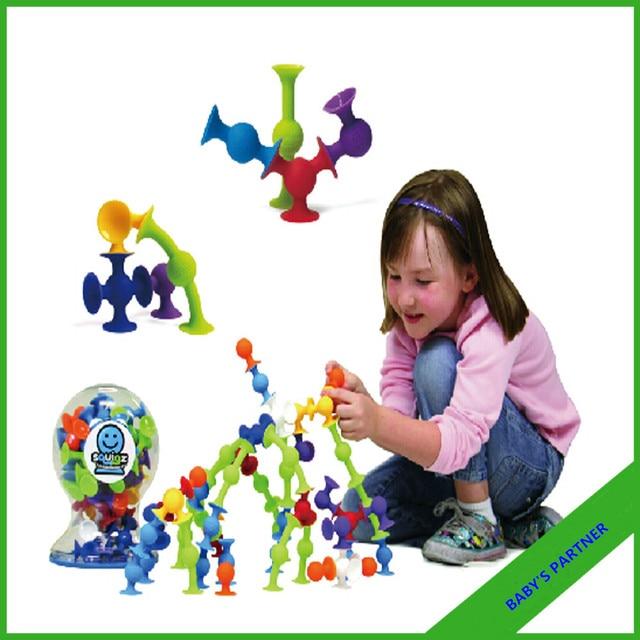 Новые Продукты развивающие игрушки присоски squigzee игрушка творческий сборка гайка игрушки Кремния любит Squigzee Стартовый Набор 36 Шт.