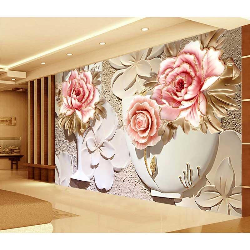 Atacado hd 3d pink rose flores mural papel personalizado for Mural pared personalizado