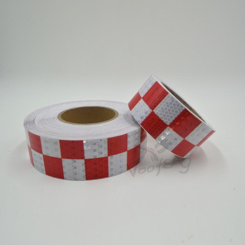 5 см x 5 м Сияющий красный, белый Цвет квадратных самоклеящиеся Светоотражающие Сигнальные ленты для Средства ухода за кожей знаки