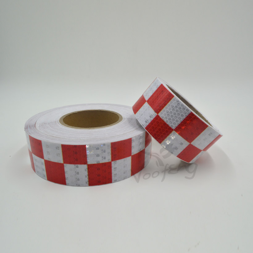 5cmx5m Shining Red White Color Square Self-Adhesive Reflective Warning Tape For Body Signs