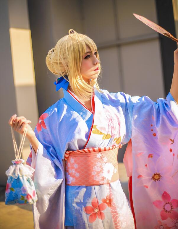 New Anime Fate Aniplex Kimono Bathrobe Saber Woman Kimino Dress+headwear  Halloween Cosplay Custume