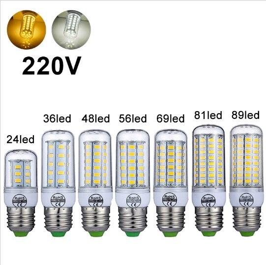 Free Shipping 360 Angle E27 LED Lamp 220V 240V LED Light Corn Bulb SMD5730 Lampada LED Bulbs LEDs Home Decorate Chandelier Light