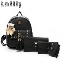 KMFFLY Brand 3 Set Rivet Tassel Black Backpack School Bags For Teenage Girls Sac A Dos