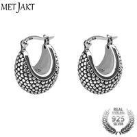 MetJakt Vintage Hoop Earrings Solid 925 Sterling Black Silver Earring for Women's Party Wedding Jewelry