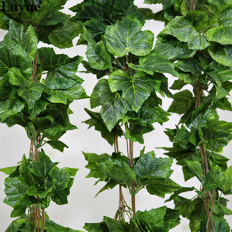 Luyue Garden Decor 5PCS Silk Artificial Plant Vines Silk Grape Leaves Garland Faux Simulation Flower Rattan Home Wedding Decor