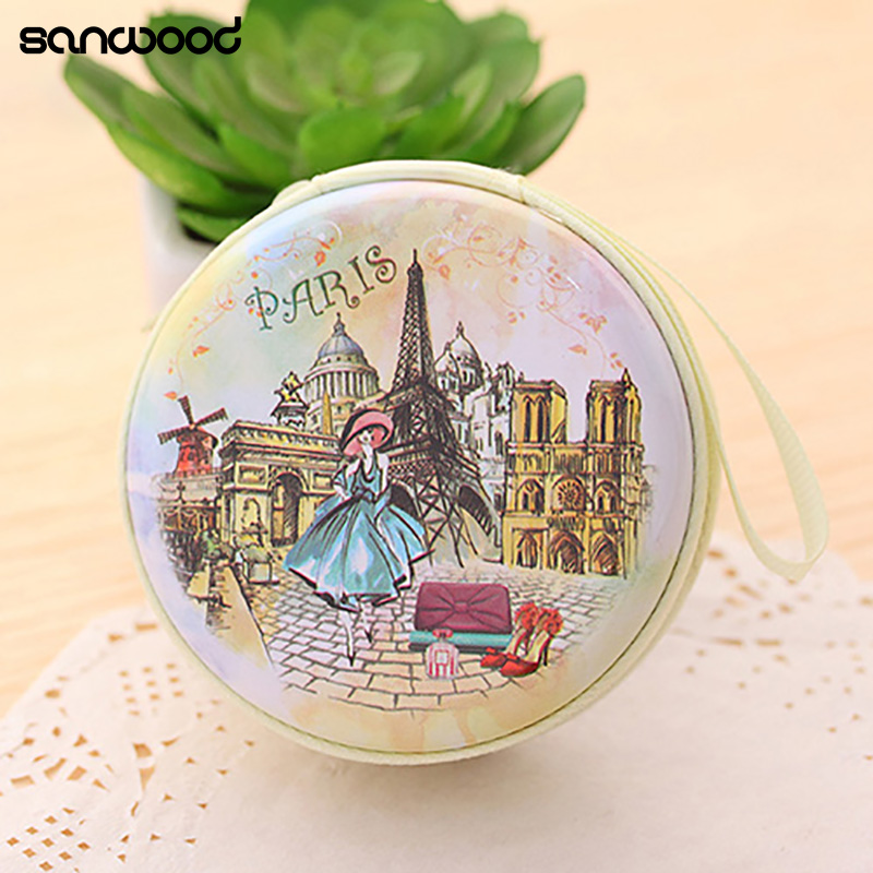 Portable Lovely Round Wallet Cartoon Eiffel Tower Earphone Key Holder Case Bag tp 4pcs lot nail dip powder set glitter diping powder nails healthy color nail art powder natural dry nail salon 10g box