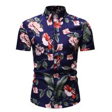 Hawaiian Beach Style Summer Flower Blouse Mens Clothing slim fit Casual Shirts Floral New model
