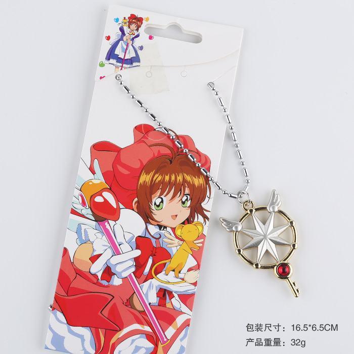 5 pcs/lot Anime Captor Sakura metal necklace figure pendant toys cartoon magic stick necklace toy gifts