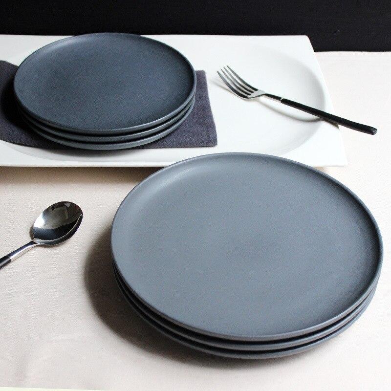JK Home 1 Pcs Ceramic Plate Bowl Set Sample Dark Gray Steak Plate Dish Top Quality Dinner Plates China Bone Ceramic Gift refletor fq led