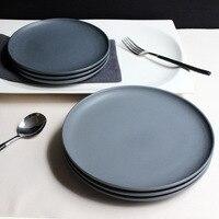 JK Home 1 Pcs Ceramic Plate Bowl Set Sample Dark Gray Steak Plate Dish Top Quality