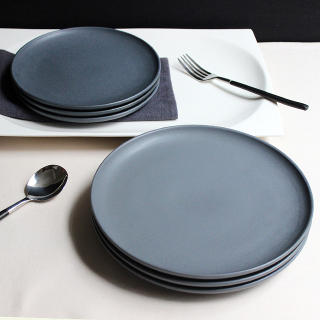 JK Home 1 Pcs Ceramic Plate Bowl Set S&le Dark Gray Steak Plate Dish Top Quality : gray dinner plates - pezcame.com