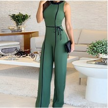 2019 Women Wide Leg Long Pants Jumpsuit O Neck Sexy Romper Elegant Sashes High Waist
