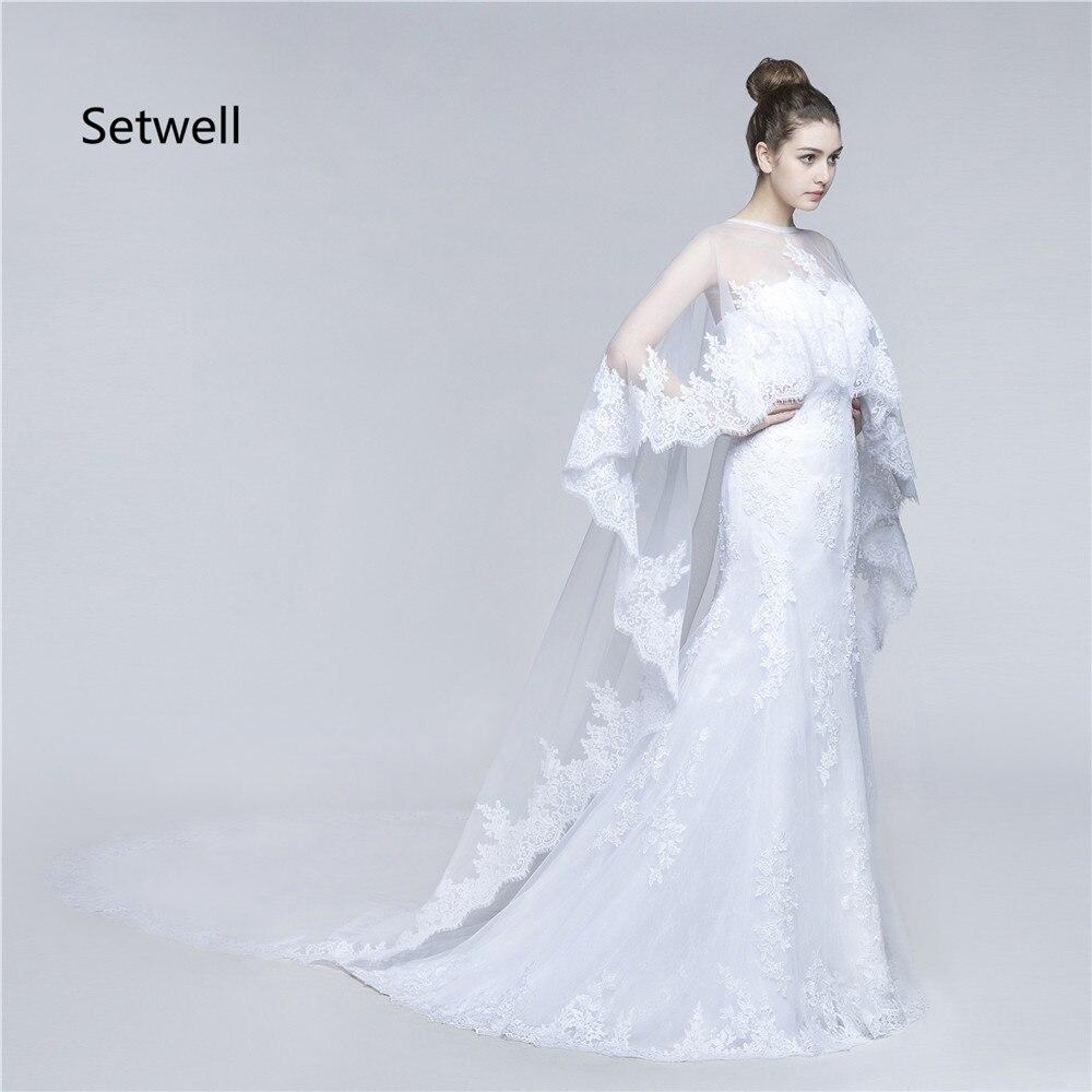 Setwell Einzigartige Zweiteiler Weiß Brautkleider Mit Cape Hohe ...