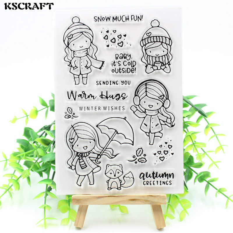 KSCRAFT Winter Wishes Transparent Clear Silicone Stamps for DIY Scrapbooking/Card Making/Kids Fun Decoration Supplies kscraft butterfly and insects transparent clear silicone stamps for diy scrapbooking card making kids fun decoration supplies