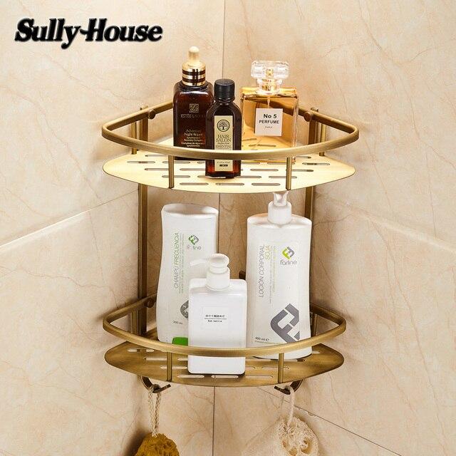 Sully House Antique Brass Bathroom Corner Basket Shelf,Bronze Dual ...