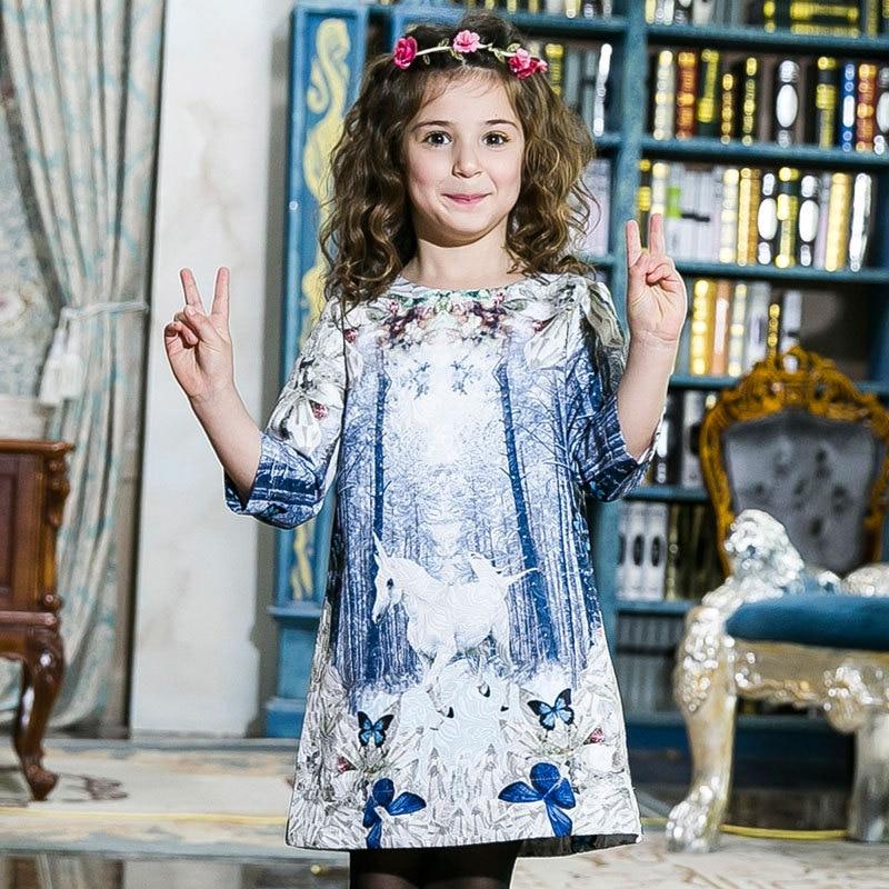 eaabe4151582 2018 осеннее платье принцессы с бабочкой для девочек, платье с принтом  единорога, Детские вечерние платья для девочек, детская модная одежда, ...