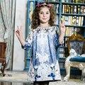 Inverno da menina vestido de Princesa Borboleta vestido de festa Infantil 2016 Impressão Unicórnio Crianças Crianças Vestir para Meninas Vestidos de Outono