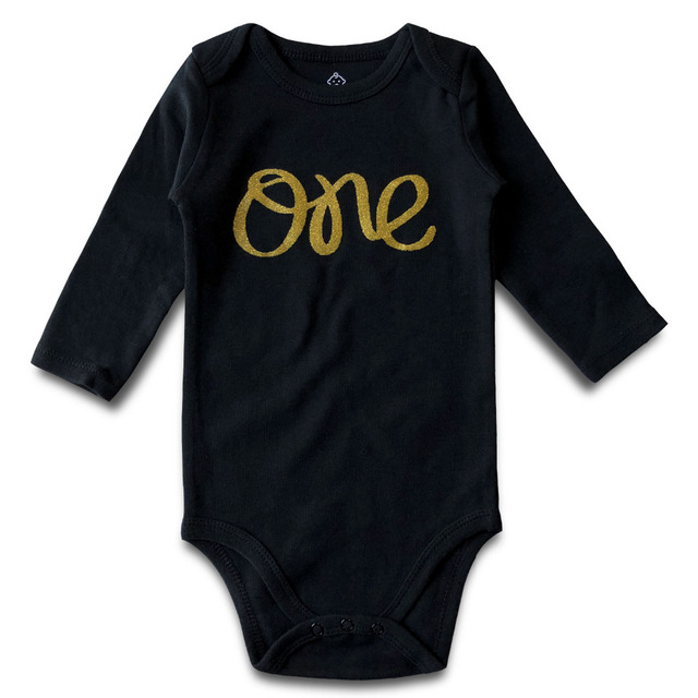 Baby Boy Girl Bodysuit Newborn First Birthday Clothes 100 Cotton Long Sleeve Jumpsuit Gold