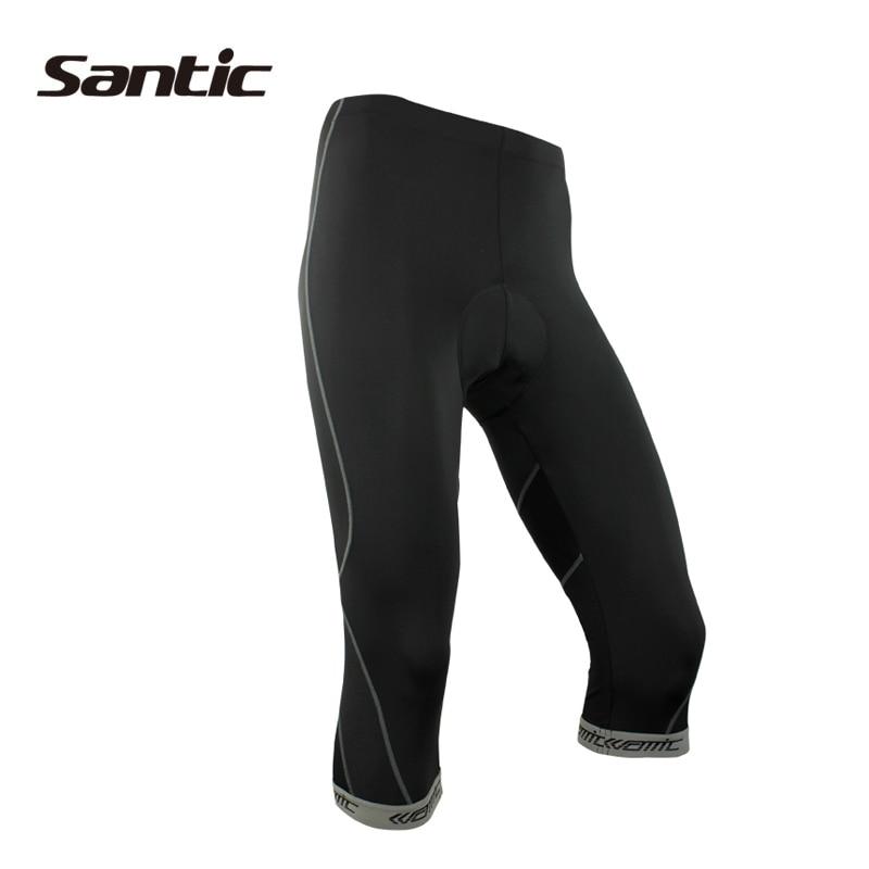 SANTIC Велотрусы  3/4   с памперсом  с 4D Coolmax одклад-памперс  Летние мужские трусики для езды на велосипеде   велосипедов одежда Черный серый