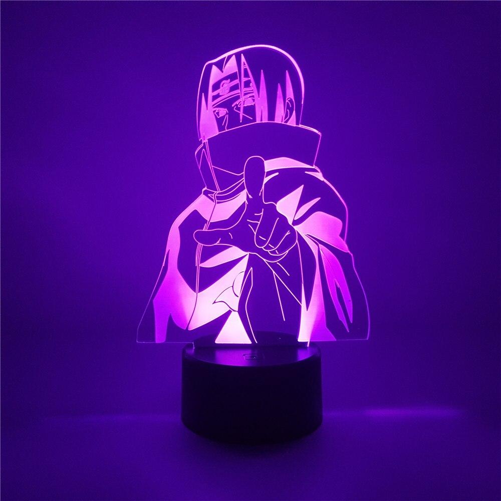 5dbd8a3bd1724 Anime Figura Naruto Uchiha Itachi Naruto Figuras Figura LED 3D Night Light  7 Cor Acrílico Led Lâmpada de Mesa Decoração de Casa caçoa o Presente