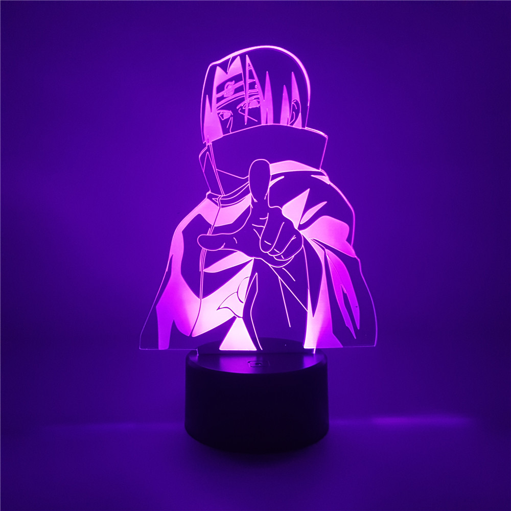 Anime Figure Uchiha Itachi Naruto Figure LED 3D Night Light 7Color Acrylic Naruto Figuras Led Desk Lamp Home Decor Kids Gift