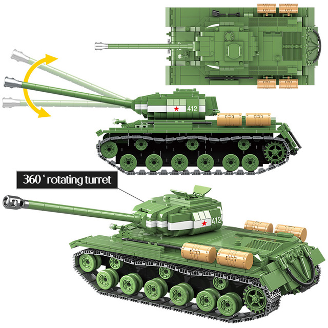 1068pcs Military IS-2M Heavy Tank Soldier Weapon Building Blocks Compatible Tank WW2 Bricks Army 100062 Toys for Boys