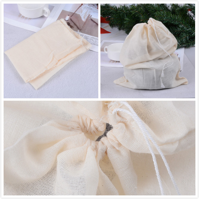 30x40cm Cotton Tea Bags Reuseable Drawstring Bags Strainer Filter Bag For Nut Milk Tea Fruit Juice Empty Teabags