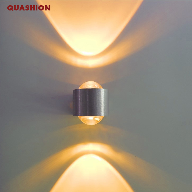 Indoor 2W LED Wall Lamp AC110V/220V Up And Down Acrylic Abajur Material Aluminum Sconce Bedroom Decorate Wall Light